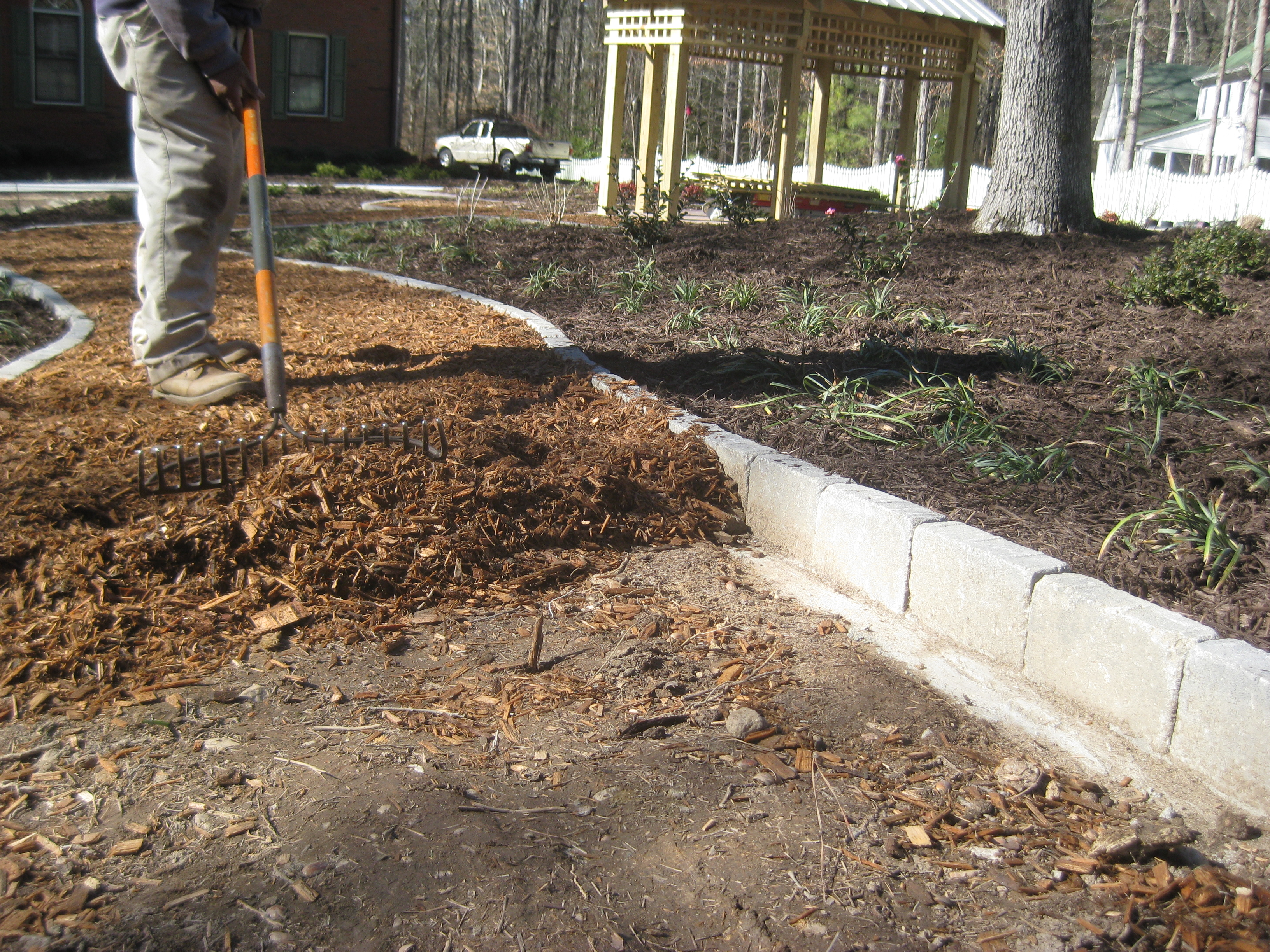 Marvelous Mulch Pathway Patio Installation