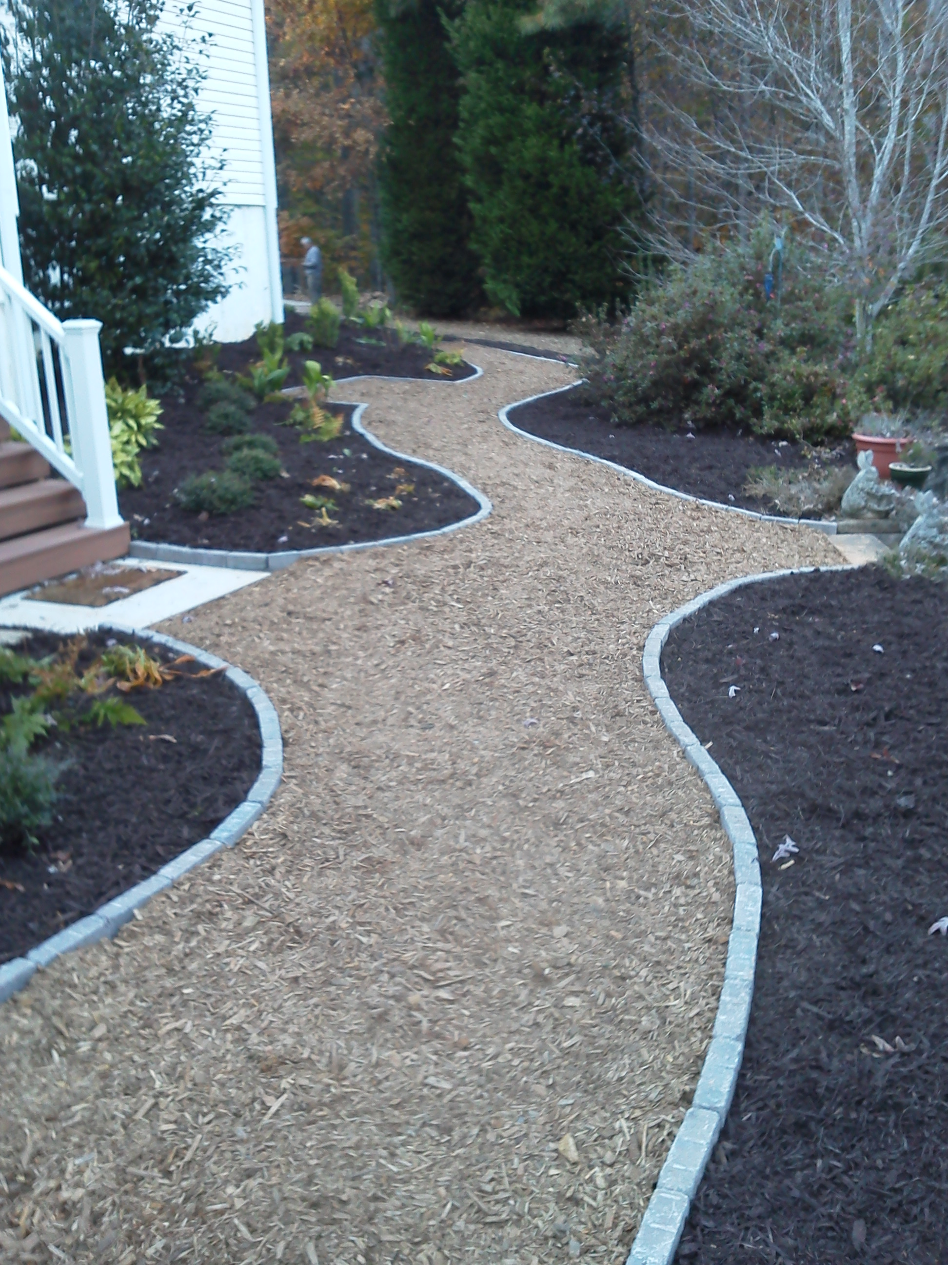 Mulch Pathway Patio Installation
