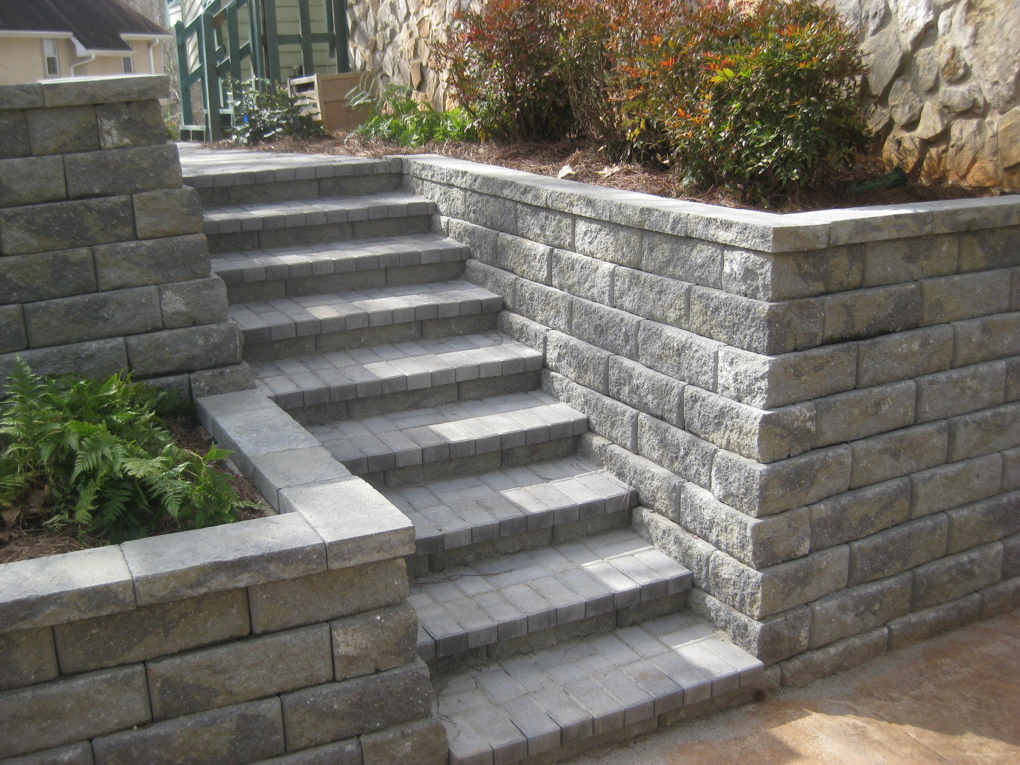 Stone Garden Steps Landscape steps mcplants pavers stone timbers wood landscape steps workwithnaturefo