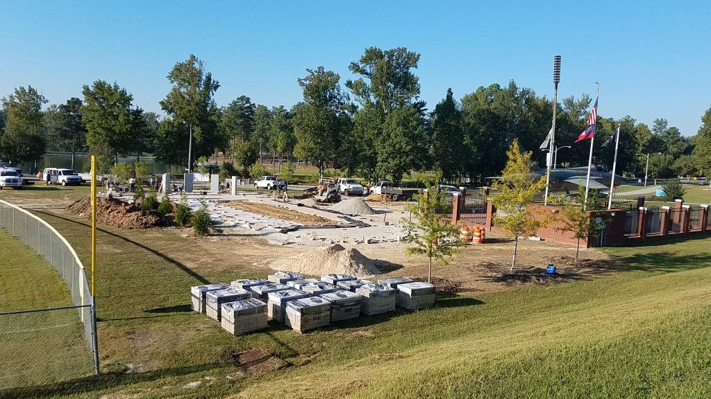 Military Honor Garden construction in process. Over 100 tons of material in the walks alone.