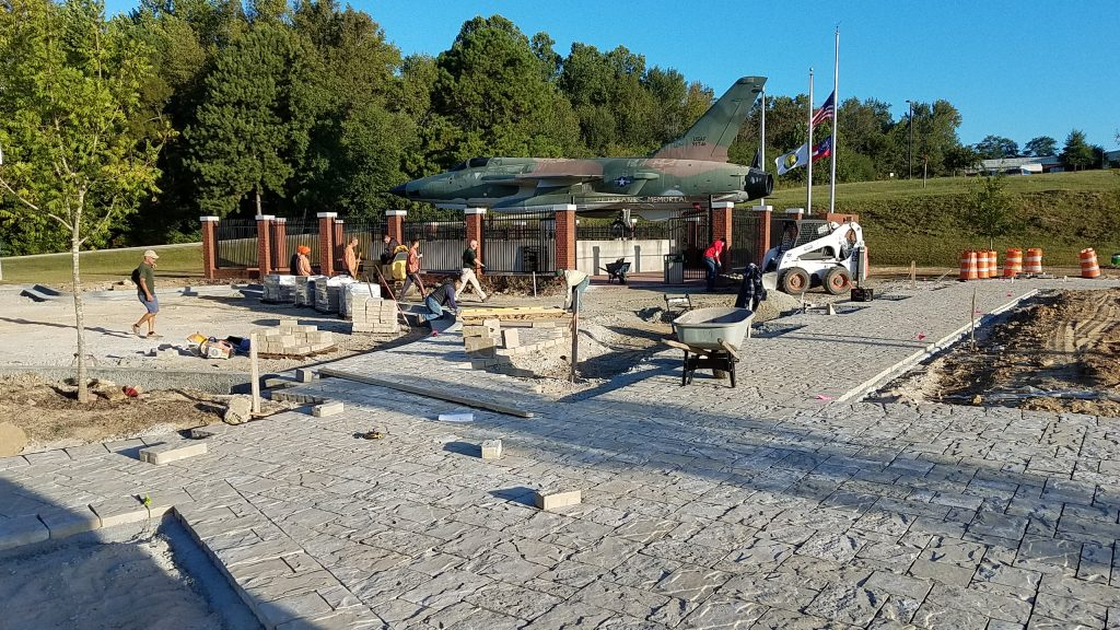 Douglasville Military Honor Garden: Building the Belgard Mega Lafitt Paver walk around new parking lot curb