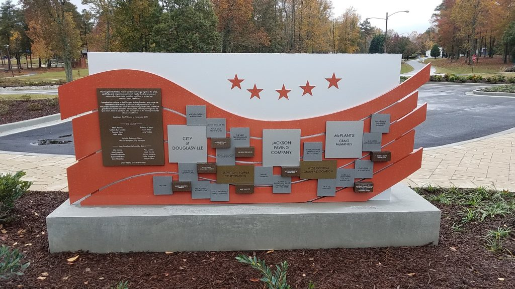 Donor support wall at Douglasville Military Honor Garden.