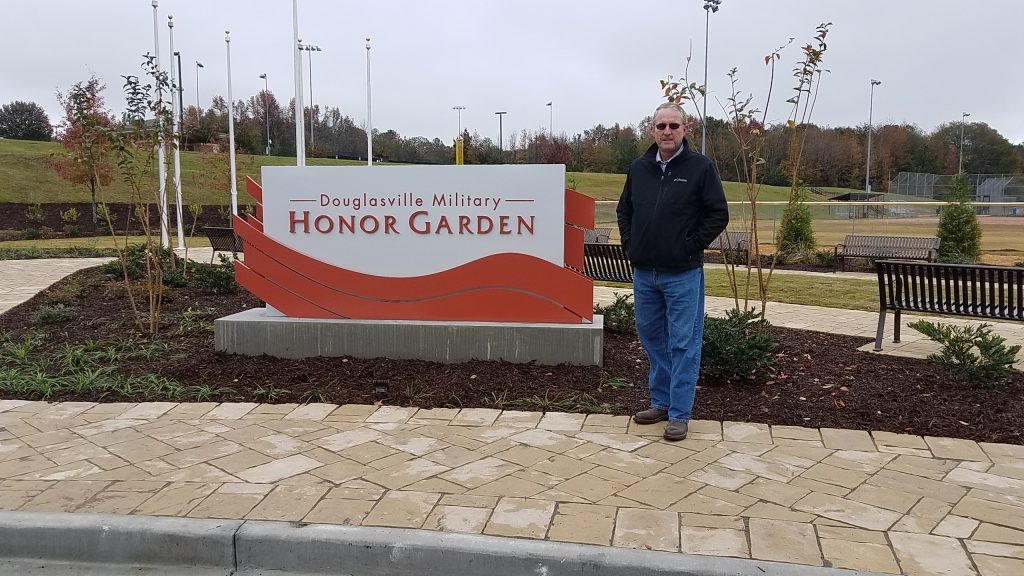 Craig McManus project manager and designer for Douglasville's Military Honor Garden .