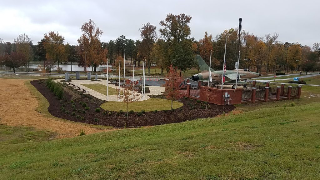 Southern overlooking view of Douglasville's new Military Honor Garden construct to the east and south of the existing Lt. Robert G. Hunter Veterans Memorial built in 1998.